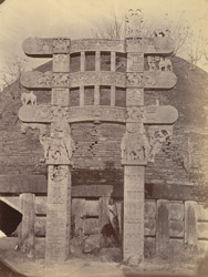 Front view of the East Gateway of the Great Stupa before restoration, Sanchi, Bhopal State